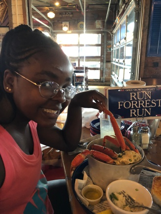 Biv loves her crab legs!