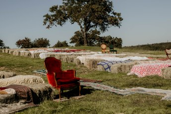 Seating with hay bales
